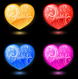 Set of vector hearts on black background Stock Images