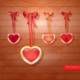 Set of vector  hearts and bows on brown wooden. Set of vector abstract hearts and bows on brown wooden  background Stock Photos