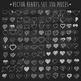 Set of vector hearts chalkboard blackboard Royalty Free Stock Photo