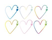 Set of vector hearts in the form of arrows. pointer, symbol. gradient drawings, colorful. Colorful set of vector hearts in the form of arrows. pointer, symbol royalty free illustration
