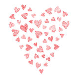 Set of vector hearts, hand drawn Stock Images