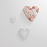 Set of vector hearts made of glass. For design or as a background Stock Illustration
