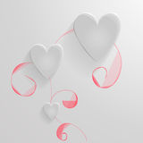Set of vector hearts made of glass. On the hand drawn floral background Stock Illustration