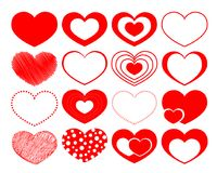 Set of 16 vector hearts on the St Valentine day Stock Images