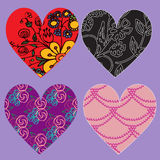 Set of vector hearts with various patterns Royalty Free Stock Photo