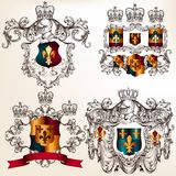 Set of vector heraldic design elements with  coat of arms in vin Stock Photo