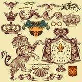Set of vector heraldic elements for design Stock Image