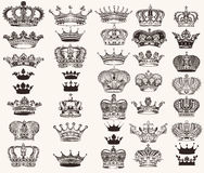 Set of vector high detailed crowns for design. Mega collection or set of vector high detailed crowns for design Royalty Free Stock Photography