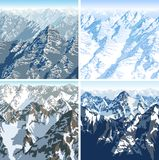 Set of vector Himalaya alps mountain background texture seamless patterns Royalty Free Stock Images