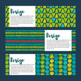 Set Vector  hipster backgrounds in blues and greens. Hand drawn style Stock Images