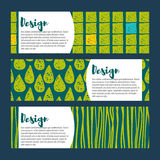 Set Vector  hipster backgrounds in blues and greens. Hand drawn style Royalty Free Stock Photo
