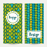 Set Vector  hipster backgrounds in blues and greens. Hand drawn style Royalty Free Stock Image