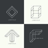 Set of vector hipster logo Stock Photography