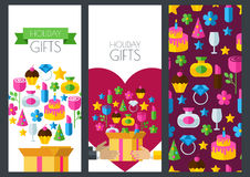 Set of vector holiday banner backgrounds, seamless pattern. Box Stock Photography