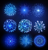 Set of Vector holiday firework. Vector holiday firework on black background Stock Images