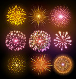 Set of Vector holiday firework. Vector holiday firework on black background Stock Photos