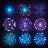 Set of Vector holiday firework Stock Photos