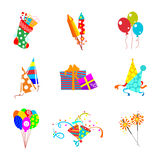 Set of vector holiday icons. Set of vector birthday party elements Royalty Free Stock Photography