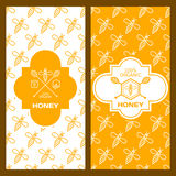 Set of vector honey backgrounds for label, package, banner.. Seamless pattern with yellow and white bees. Linear honey logo template. Design for organic honey Stock Photography