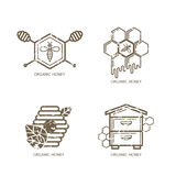 Set of vector honey label, logo, tag, sticker design elements. Bee, hive, honeycombs Royalty Free Stock Photos