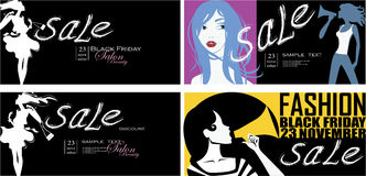 Set vector of horizontal artistic flyer, sale, shopping, design for poster, banner, card, placard, fashion silhouette women on sho Royalty Free Stock Images