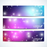 Set of the vector horizontal banners.  Background science, connection, chemistry, biology, medicine, technology. Modern Royalty Free Stock Photo