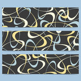 Set of vector horizontal banners. Black background with colorful circles . Modern design.  Royalty Free Stock Images