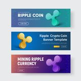 Set of vector horizontal banners with 3d emblem of crypto curren. Cy Ripple. The template for the web is blue and violet, with text and buttons Royalty Free Stock Photo