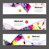 Set of vector horizontal polygonal triangles banners beautiful colors.  Stock Image