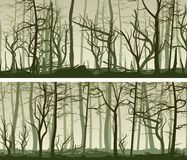 Horizontal wide banners with many tree trunks. Royalty Free Stock Images