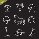 Set of vector horse equipment icons Stock Image