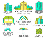 Set of vector house logo designs, real estate icon suitable for info graphics, websites and print media. Vector, flat Stock Images