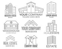 Set of vector house logo designs, real estate icon suitable for info graphics, websites and print media. Vector, flat. Icon, badges, labels, clip art. Lineart Stock Images