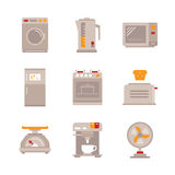 Set of vector household appliances icons and concepts in flat style Stock Photography