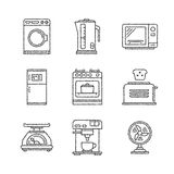 Set of vector household appliances icons and concepts in sketch style Royalty Free Stock Image