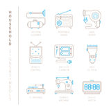 Set of vector household icons and concepts in mono thin line style Royalty Free Stock Images