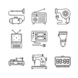 Set of vector household icons in sketch style Stock Image