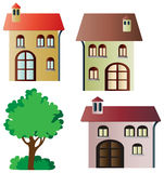 Set of vector houses and tree Royalty Free Stock Images