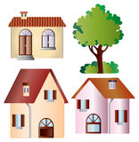 Set of vector houses and tree Royalty Free Stock Photo