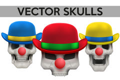Set of Vector Human skulls with clown hat on head Stock Image