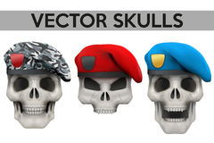 Set of Vector Human skulls with military berets on Stock Image
