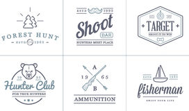 Set of Vector Hunting Camping Sport Elements Illustration can be used as Logo. Or Icon in premium quality Royalty Free Stock Images