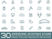 Set of Vector Hunting Camping Sport Elements. Illustration can be used as Logo or Icon in premium quality Stock Images