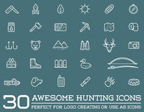 Set of Vector Hunting Camping Sport Elements. Illustration can be used as Logo or Icon in premium quality Royalty Free Stock Image