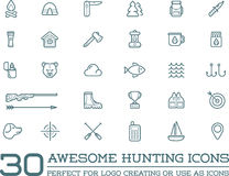 Set of Vector Hunting Camping Sport Elements. Illustration can be used as Logo or Icon in premium quality Stock Photo