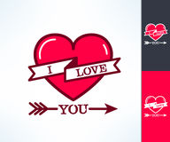 Set of vector i love you hipster design with ribbon, heart and arrows. Love and romance design element Stock Image