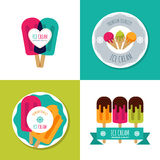 Set of vector ice cream logo, label, badges or emblems. Modern flat ice cream icons. Summer illustrations. Modern design elements for package, prints, cafe or Stock Photo