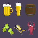 Set of vector icon beer and appetizer: Stock Image