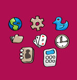 Set vector icon for mobile phone application. Royalty Free Stock Images