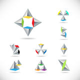 Set of vector icon with pyramids and arrows. Vector logo. Set of creative vector icon with pyramids and arrows with colored polygons. Vector logo Stock Photography
